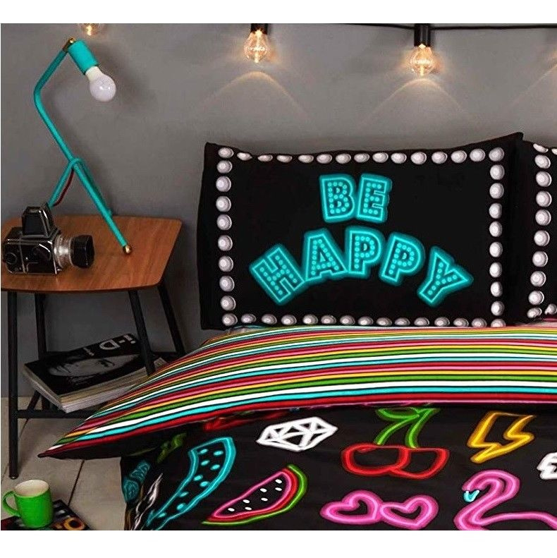 Be Happy neon effect dekbedovertrek 1 persoons met 1 kussensloop