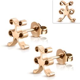 Fantasie oorknopjes rosé goud staal