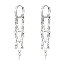 Chain oorringen Chirurgisch staal zilver kettinkjes met sterretjes