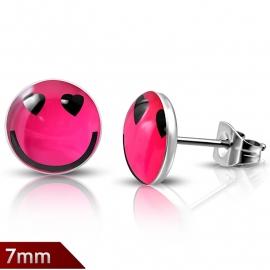 Ronde fuchsia roze lachende Smiley oorknopjes edelstaal