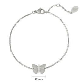 Stalen dames armband zilver Butterfly