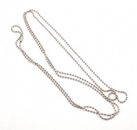 Bolletjes ketting / Ballchain ketting edelstaal zilverkleur 2 mm - 80 cm