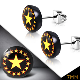 Zwarte oorbellen met sterren