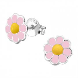 Zilveren kinder Bloemetjes roze met geel hartje