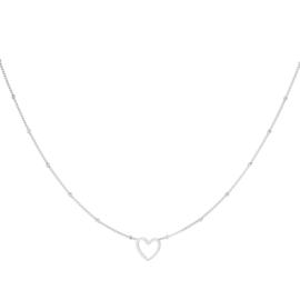 Minimalistische ketting dames staal open hart zilver