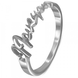"Stalen dames ring "" I love you "" maat 18"