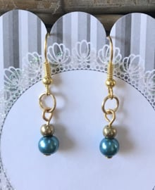 Pearly Blue dames oorbellen gold plated