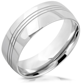 Stalen  Ring dames of heren met drie diagonale lijnen