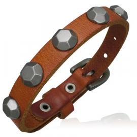 Bruine leren armband met studs