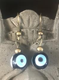 Geluksoog oorbellen zwart met bronskleurige basis