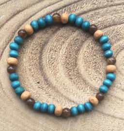 Heren kralen armband houten kralen - Okergeel, Bruin, Turquoise