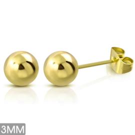 Zweerknopjes goud rvs klein 3 mm