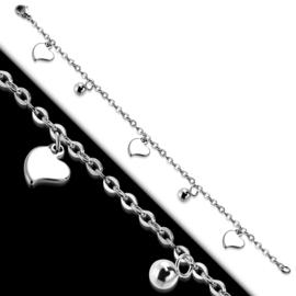 Stalen armband dames zilver met hartjes hangertjes - 18 cm