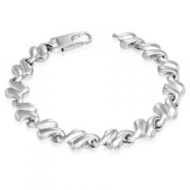 Grove zilverkleurige heren armband edelstaal - 21,5 cm