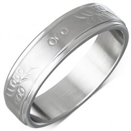 Gladde ring met patroon stainless steel  - Ringmaat 19