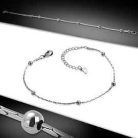 Zilverkleurige stalen fijne dames armband met kleine bolletjes