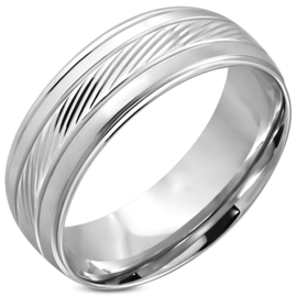 Stalen zilverkleurige ring heren of dames