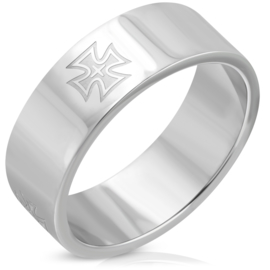 Knight's Cross RVS ring Iron Cross
