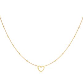 Minimalistische ketting open hartje staal goud