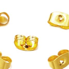 Achterkantjes oorbellen rvs goud (per paar)
