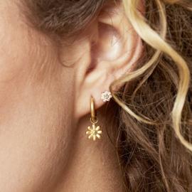Oorbellen Chirurgisch Staal Little Daisy oorringen - Bloemetjes goud