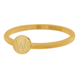 Alfabet ring IXXXi Letter W  goud