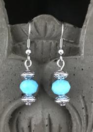 Bali oorbellen facet blue