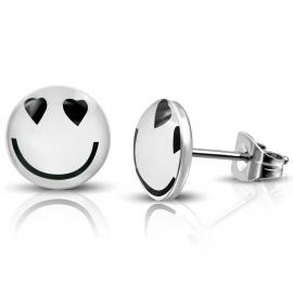 Ronde witte Smiley oorknopjes roestvrij staal