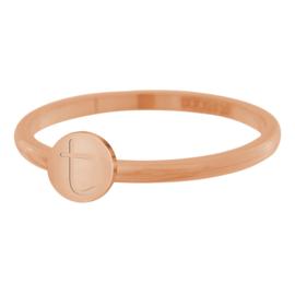 Alfabet ring dames  IXXXi Letter T rosé goud