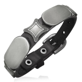 Zwarte Leren armband gespsluiting man