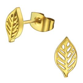 Goudkleurige stalen blad/leaf oorknopjes dames