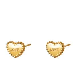 Hartjes oorbellen chirurgisch staal Love goud