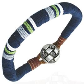 Donkerblauwe mannen armband van touw met bruine leren accenten