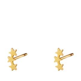 Drie sterren oorbellen chirurgisch staal goud