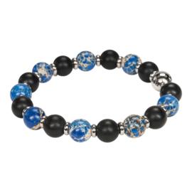Blauw zwarte kralenarmband heren natuursteen