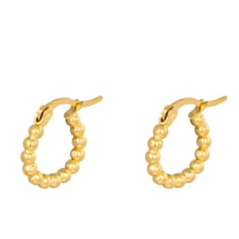Hoops Dotted staal goud oorringen 15 mm