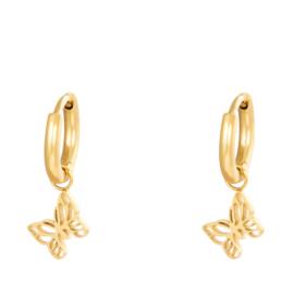 Oorbellen Chirurgisch Staal Vlinder oorringen (Hoops) goud
