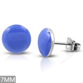 Ronde kleine Oorknopjes chirurgisch staal blauw