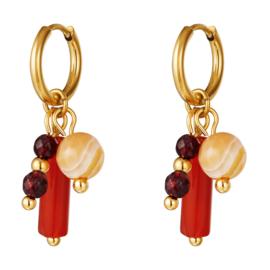 Oorbellen met kraaltjes oranje rood stainless steel