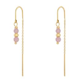 Doortrek oorbellen staal goud dames roze kraaltjes