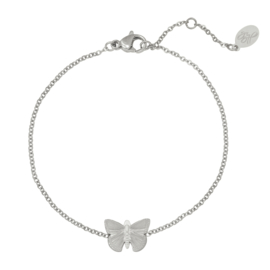 Stalen dames armband zilver Butterfly