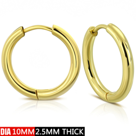 Edelstalen Creolen gold plated 10 mm