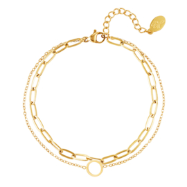 Dubbele dames armband infinity chirurgisch staal goud