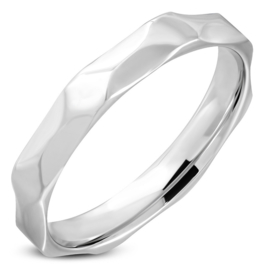 Facet ring Rvs zilver dames of heren ringmaat 22