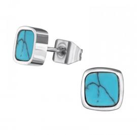 Chirurgisch stalen oorbellen turquoise square