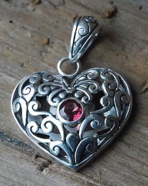 Bali zilveren kettinghanger hart