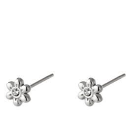 Bloemetjes oorknopjes stainless steel zilver met zirkonia