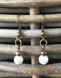 Oorbellen hangers brons Pearly