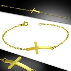 Prachtige Goudkleurige Rvs armband met kruis
