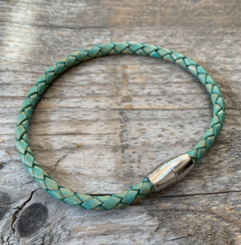Leather bracelet - Heren turquoise rvs magneetsluiting